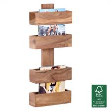 wohnling solid acacia wall newspaper holder shelf 30 x 10 x