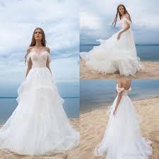 discount elegant beach wedding dresses boho style romantic sheer