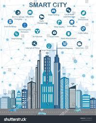 Modern City Smart City Wireless Communication Network Modern Stock Vector