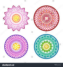 Flower Motifs Mandalas Color Decorative Elements Stock Vector