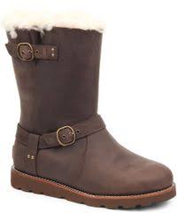 ugg sale noira lyst ugg noira sheepskin lined leather boots in brown