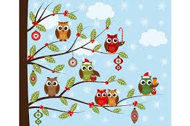 christmas owls clip art illustrations creative market