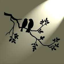 shabby chic stencil 2 birds in tree rustic vintage style a3
