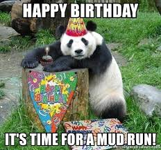 Mud Run Meme - happy birthday it s time for a mud run happy birthday panda