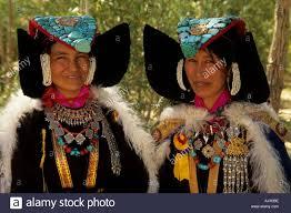 ladakh clothing india ladakh leh women traditional dress stock photo