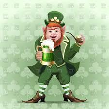 smiling leprechaun with beer mug and smoking pipe vector image
