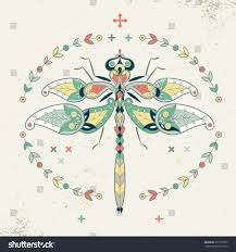 decorative vector illustration ornamental dragonfly stock