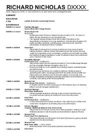 Catering Manager Resume Cv Personal Statement Examples Catering