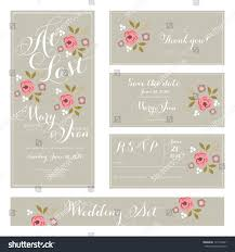 wedding invitations rsvp cards wedding invitation thank you card save stock vector 131712461