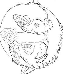wolf and bat yin yang coloring page