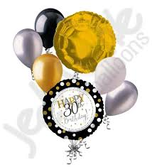 30th birthday balloon bouquets silver gold polka dots 30th birthday balloon bouquet