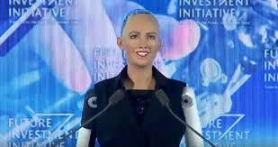 saudi female news anchor meet sophia the first robot declared a citizen by saudi arabia wgn tv