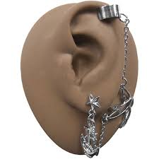 earrings with chain ear cartilage chain earring cuff cartilage to lobe bodysparkle jewelry