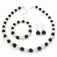 white pearl beaded necklace images Avalaya black white glass pearl bead necklace flex bracelet jpg