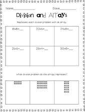 division and arrays u0026 division and repeated subtraction freebies