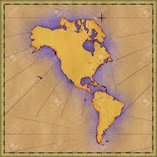 North And South America Map by Antique Approximate Map Of North Central And South America Stock
