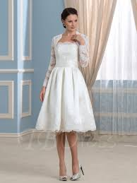 strapless satin knee length wedding dress with lace long sleeve