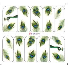 uprettego nail water decal slider nail sticker peacock feather