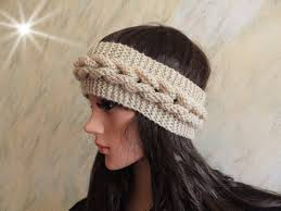 headband ear warmer cable knitted beige skiing headband ear warmer knit