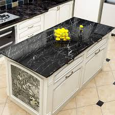 black kitchen cabinets with marble countertops yenhome jazz black faux marble countertops peel and stick 24 x 196 inch removable wallpaper for kitchen backsplash peel and stick wallpaper cabinets