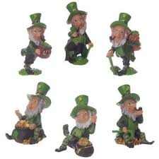 set of six lucky leprechaun figures 6 7cm statue ornament