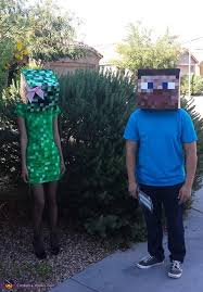 Minecraft Halloween Costume Minecraft Steve And Creeper Couple Costume Photo 3 4