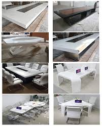 modern white color acrylic solid surface 6 seats marble office