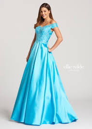 off the shoulder mikado and tulle prom dress with pockets ew118152