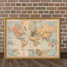 Decorative World Map World Map Decorative Map Old Wall Map From Ancientshades On