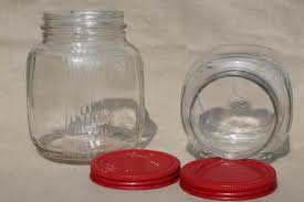 Red Glass Kitchen Canisters by Vintage Glass Jars W Red Painted Metal Lids Pantry Storage Jars