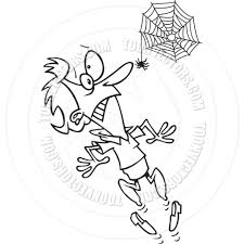 cartoon woman afraid of spiders black and white line art by ron