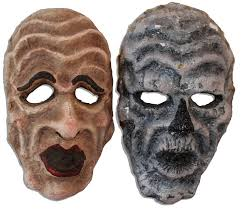 halloween paper mache masks lot detail ray bradbury owned lot of 3 masks from u0027 u0027something