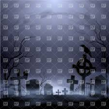 halloween graveyard silhouette of cemetery vector image 39735