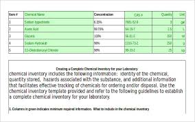 Chemical Inventory Template Excel by Chemical Inventory Template 12 Free Word Excel Documents