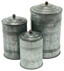 decorative kitchen canisters galvanized metal canisters set of 3 farmhouse kitchen