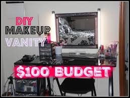How To Make A Makeup Vanity Mirror Diy Makeup Vanity On A 100 Budget Makeup Station For Cheap Youtube
