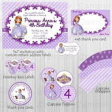 Personalized Party Decorations Complete Sofia The First Printable And Custom Party Package
