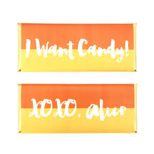 halloween gold halloween color block personalized candy bar wrapper sweet paper
