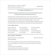 Event Coordinator Resume Template by Coordinator Sample Resume Events Coordinator Resume Example Sales