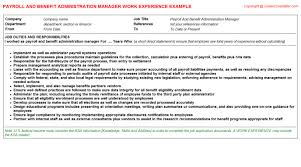 resume format for experienced administrative manager responsibilities payroll and benefit administration manager cv work experience sle