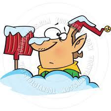 cartoon christmas elf with snow shovel by ron leishman toon