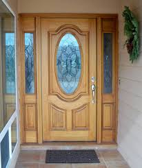 entry prehung oval glass single wood door with 2 sidelights