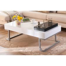 Overstock Sofa Tables Furniture Of America Cassie Coffee Table In Glossy White Finish
