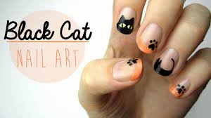 nail art black cat design youtube
