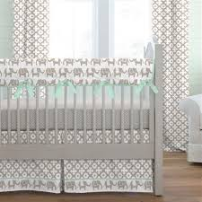 taupe and mint elephants crib skirt box pleat carousel designs
