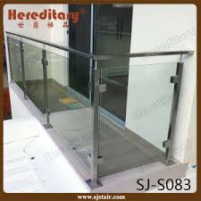 Glass Banisters For Stairs China Glass Baluster For Hotel Stair Railing Stainless Steel Sj