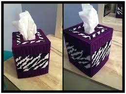 purple zebra print plastic canvas tissue box cover my creations