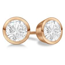 gold diamond stud earrings diamond stud earrings bezel setting in 14k gold allurez