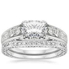 18k white gold art deco filigree diamond ring with contoured