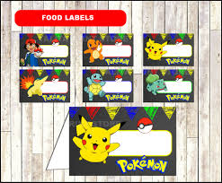 pokemon chalkboard food labels printable pokemon party food